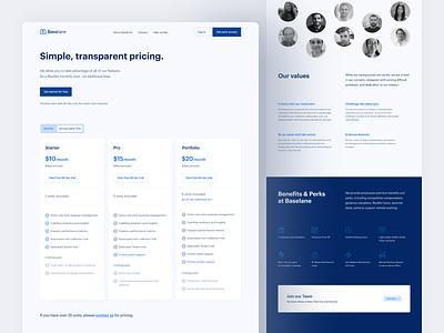 Baselane — subpages web clean ui ux landing website visual financial careers team pricing website design web design interface modern design inspiration user experience minimal simple