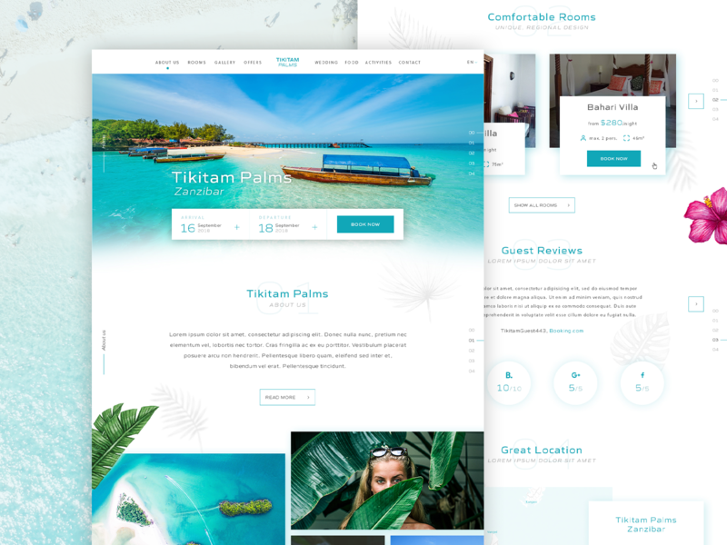 Tikitam Palms Boutique Hotel 🌴⚡️ booking travel exotic homepage ux ui hotel website hotel booking hotel website web design web landing clean