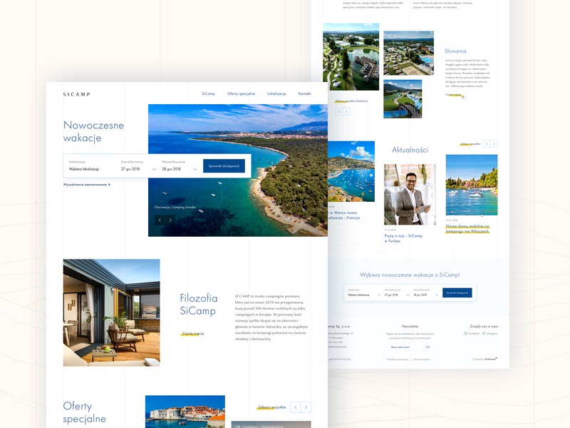 Modern campsites 🏕 web design travel landing page booking typography design ux webdesign web mobile product design clean sketch ui