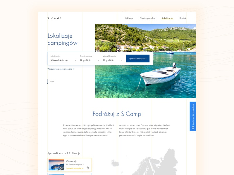 Modern campsites #2 🏕 map web design webdesign ux ui typography travel sketch landing page design clean booking