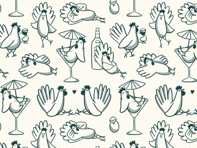 Cheeky hens procreate cute animals chicken hens pattern design pattern branding illustration