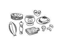 Brasserie food illustration