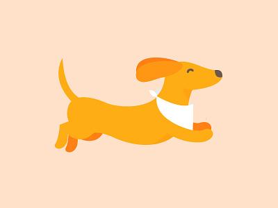 HUNGRY SAUSAGE DOG vector illustration dog flat illustration logo design branding identity logo