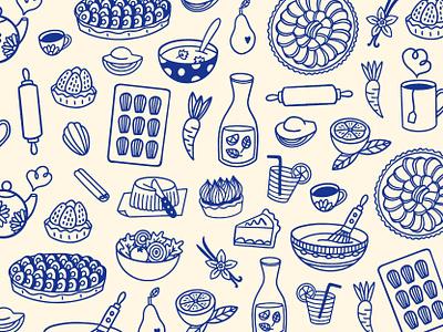 Food pattern - Coffeeshop procreate bakery food doodles food pattern coffeeshop branding pastries food illustrations pattern icon pattern doodles food branding branding coffeeshop