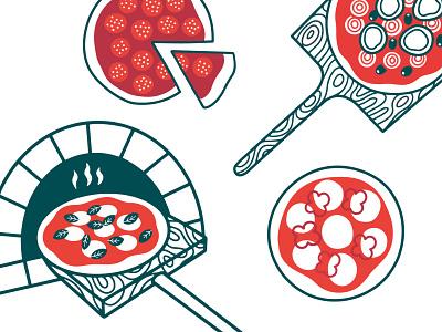 PIZZA italian food doodles pizza illustration pizza restaurant branding vector illustration food illustration