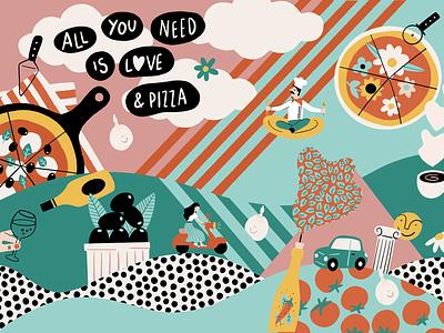 ITALIAN FRESCO ILLUSTRATION restaurant branding food illustration fresh colors italian food procreate digital illustration pizza italian restaurant illustration fresco