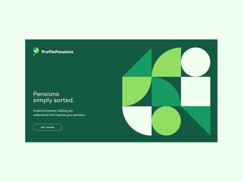 Profile Pensions: Homepage concept ui green web pensions graphic fin tech branding design
