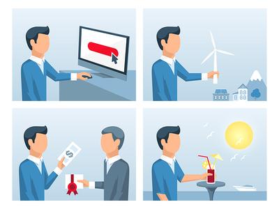 Funding Process Illustrations illustration funding crowdfunding process flat vector blue people