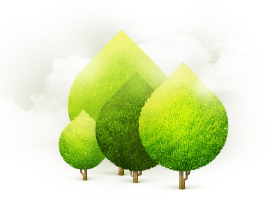Group of Trees tree cloud illustration green yellow web