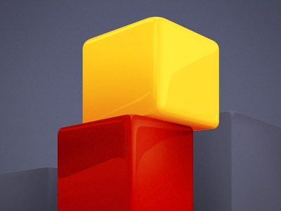 Cubes cube red yellow shiny dark