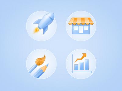 Website Icons icons rocket shop pencil brush chart blue orange web