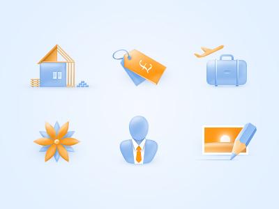 Industry Illustrations icons illustrations blue orange web house label suitcase flower businessman pencil