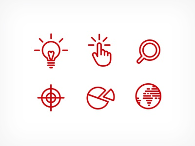 Icons icons flat minimal red lightbulb hand target globe magnifying glass pie chart