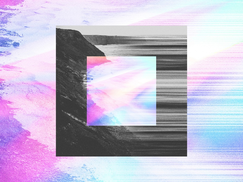 Majesty / Gravity illustration texture design music album art album grain black and white stretch blur holographic rainbow gradient ocean cliff village church