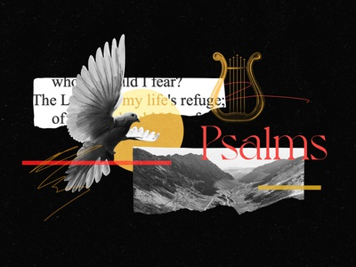 Psalms design art bible harp valley dove gold texture red collage illustration psalms church