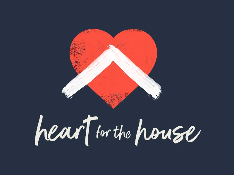 Heart for the House sermon series blue red script paint house heart