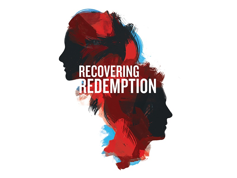 Recovering Redemption design type black blue red silhouette series sermon redemption woman man paint