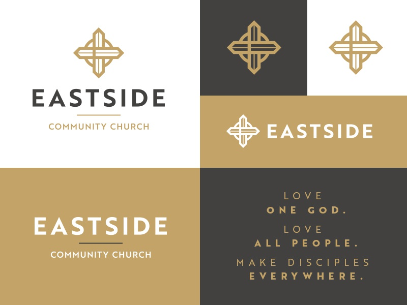 Eastside church grey brand logo circle brown black gold cross compass east