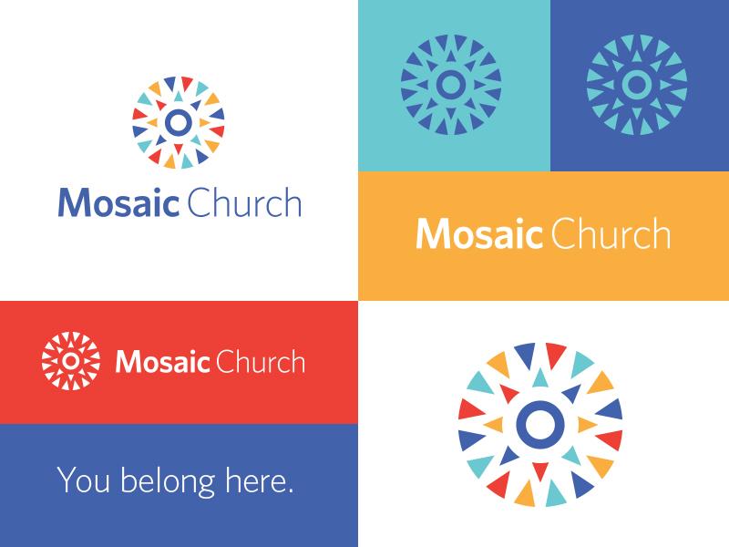 Mosaic Church yellow green blue red circle arrows colorful brand church mosaic