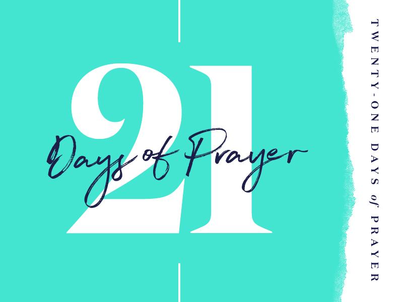 21 Days of Prayer serif tear paper handwriting script numbers teal prayer 21