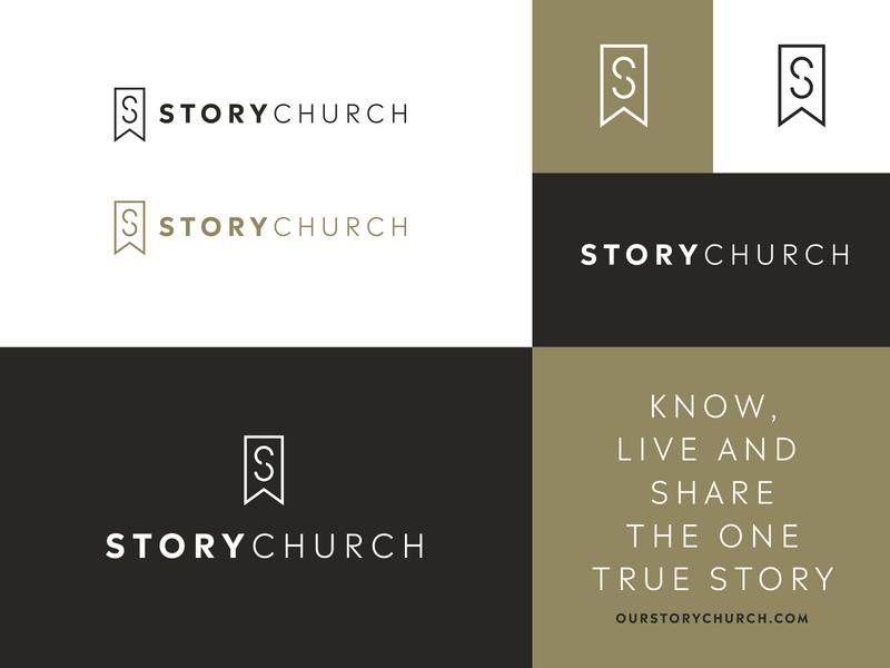 StoryChurch icon wordmark stationery story church black gold s ribbon logo book mark brand