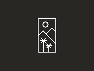 California Love rectangle mountain sun tree palm white black logo icon california