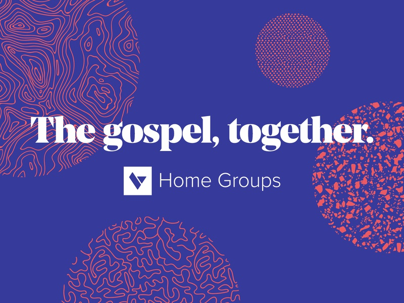 The gospel, together. pattern texture circles branding book banner poster people shapes red blue gospel together
