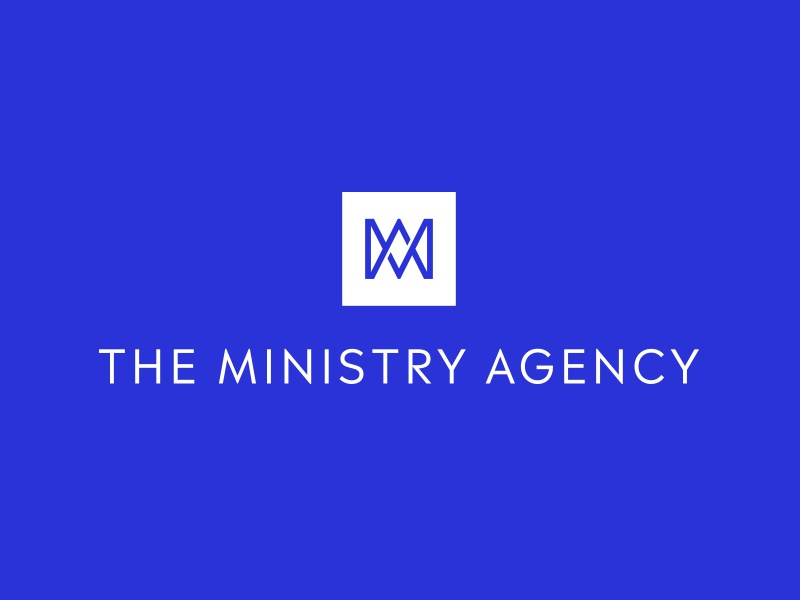The Ministry Agency sans serif icon square logo blue and white overlap square blue branding