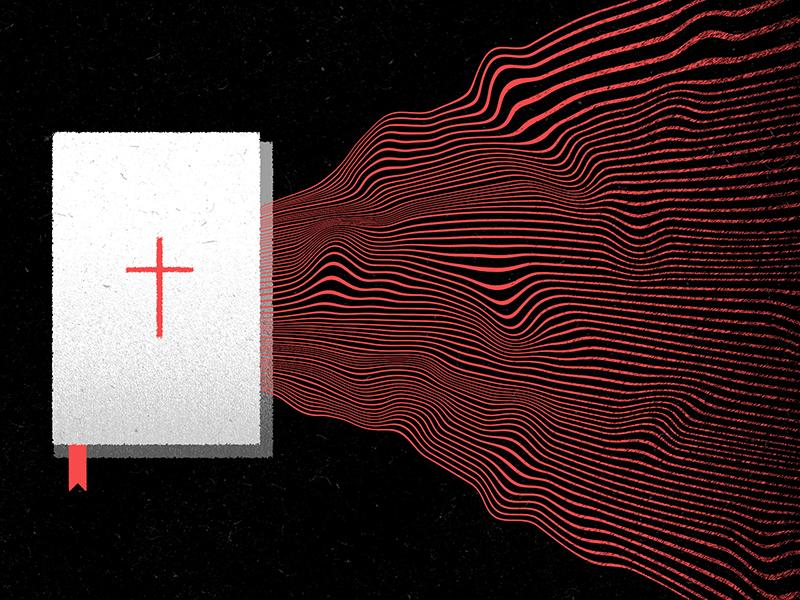 Theology Matters book distorted wavy waves bible art texture church editorial design illustration