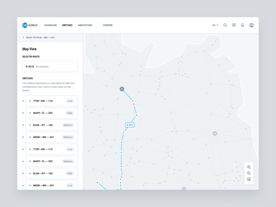 Train route map view zoom spacial geographical geo relationship route side bar split screen interaction tooltip hover data viz switch railroad train map view map