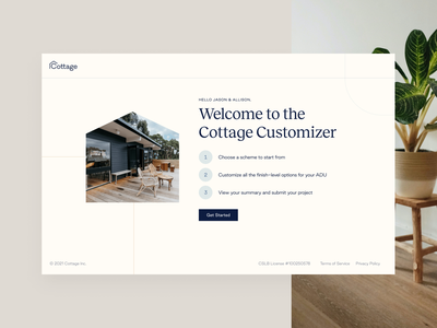 Cottage Customizer - Welcome view house steps project introduction intro personalized construction warm back house welcome landing page dwelling unit adu home customizer