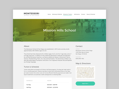 Montessori School website web website web page school montessori ui green yellow button