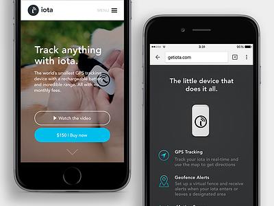 iota mobile home page button icons iota blue visual design ui gps tracker web mobile