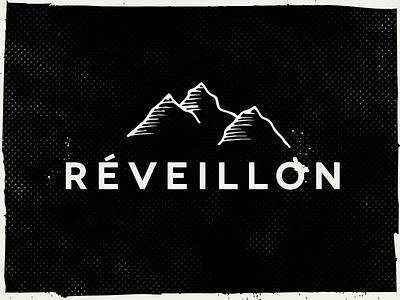 Réveillon sketch illustration distressed texture ink splat grunge awake mountains