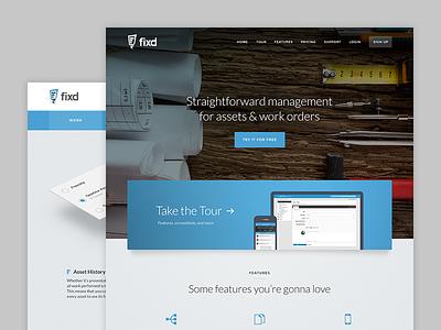 Fixd marketing site ui web blue assets work orders visual design website marketing fixed fixd