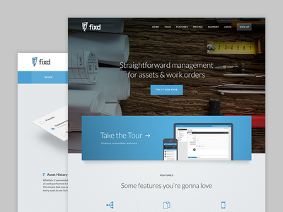 Fixd marketing site ui web blue assets work orders visual design website marketing fixed fixd