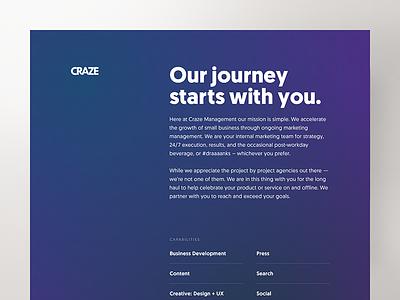 Craze web visual design gradient bold landing page brand website