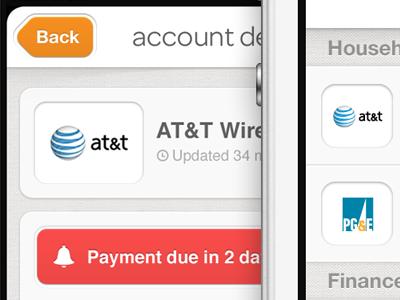 Account list & detail view ui iphone app manilla money bills logo accounts orange reminder