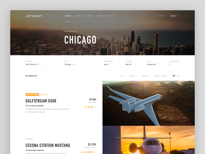 JetSavvy Results Page book reserve travel web design aircraft results jet