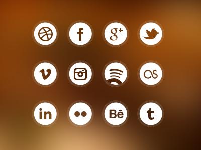 Social circle icons icon social network circle dribbble facebook google plus twitter vimeo instagram spotify last.fm linkedin flickr behance tumblr