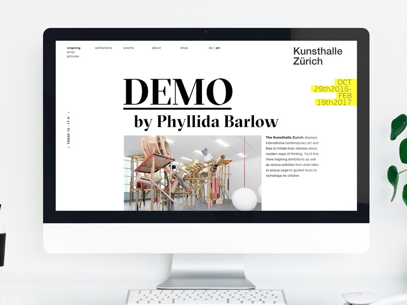 Website-Redesign Kunsthalle Zürich museum of art redesign website webdesign design uxui branding