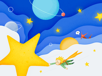 The Little Prince boy fly hope blue planet fox the little prince illustrator night star