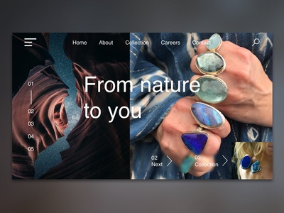 Menu page jewelry online store