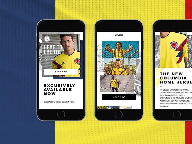 Adidas Federations Columbia mobile design digital ui ux interface