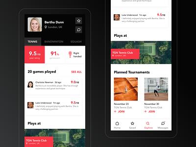 Tennis mobile app dark user profile profile tennis sports clean mobile ui mobile design app app design ui ux user experience