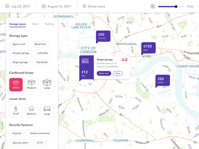 Storage search and filter friendly map filter search purple ux ui
