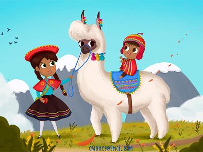 Love For Bolivia illustration lama children bolivia