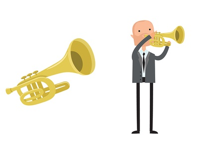 The trumpet player motion art illustrator art illustrator designmatters character concept flat  design concept character study character creation character art illustration 2d 2dart vector flat francescatabasso design character design character