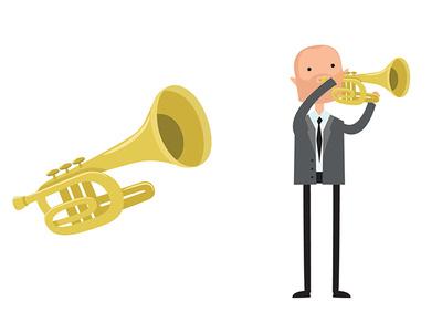 The trumpet player motion art illustrator art illustrator designmatters character concept flat  design concept character study character creation character art illustration 2d 2dart vector flat francescatabasso design character design character