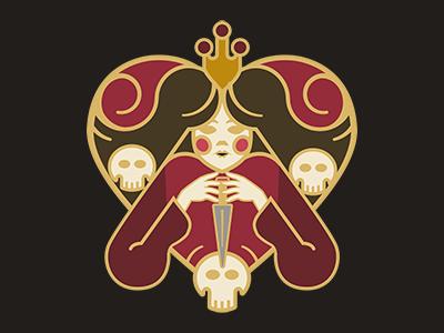 Queen Of Hearts2 blood skulls lady hearts queen queen of hearts